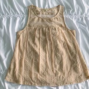 Lily White Beige Lace Tank Top